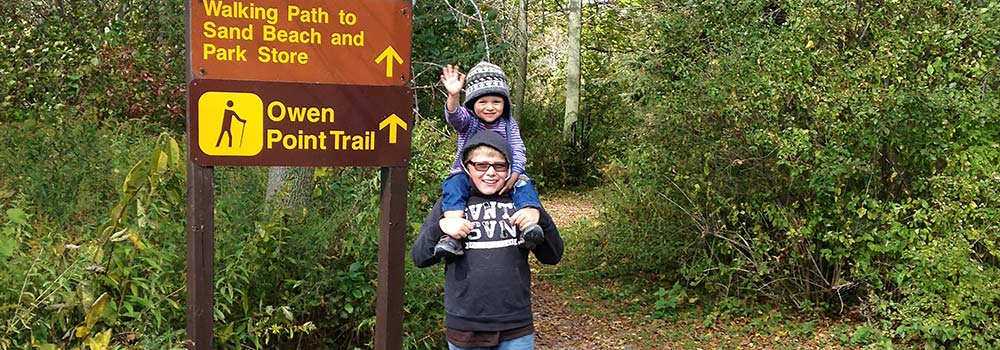 boys on hiking trail at presquile provincial park